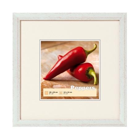 Fra mega Kvadratisk fotoramme 20x20 cm med kant i antik sølv Peppers ramme IZ-11