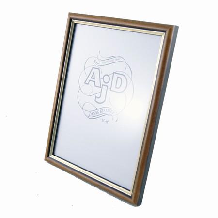 Ekstra Fotoramme med refleksfri glas 13x18 cm træ fotoramme i brun og guld WW19