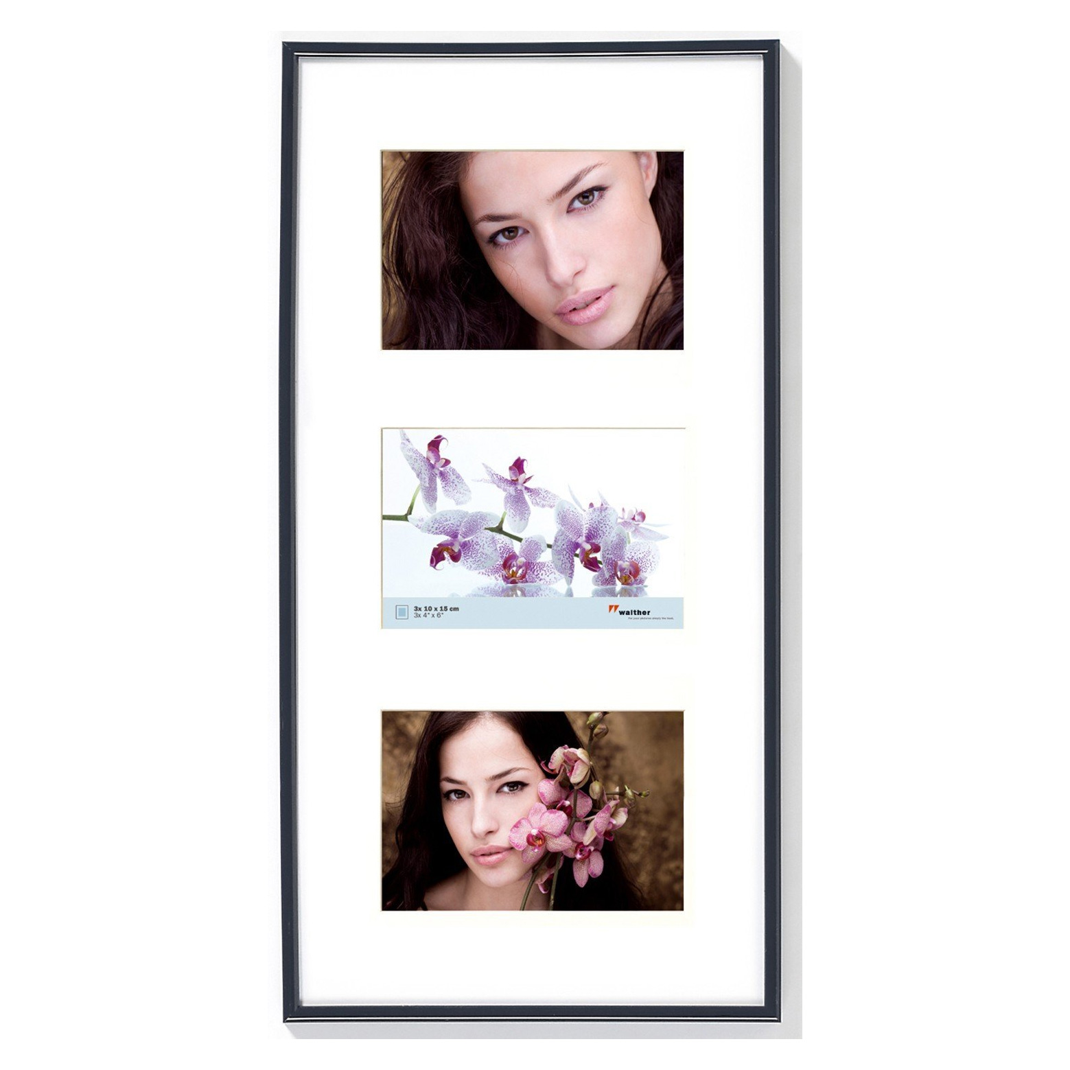 Herlig Sort ramme til 3 billeder i 10x15 cm med passepartout - fotoramme IA-71